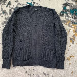 William Rast 100% Wool Sweater in Charcoal Gray L